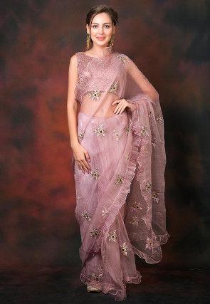 Ruffled Organza Pre-stitched Saree in Lilac