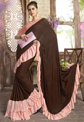 Ruffled Pre-stitched Lycra Saree in Dark Brown