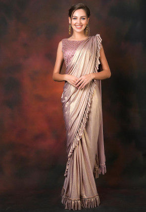 Ruffled Pre-stitched Lycra Saree in Dusty Old Rose