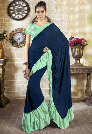 Ruffled Pre-stitched Lycra Saree in Navy Blue