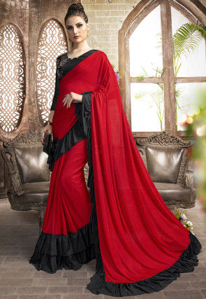 Ruffled Pre-stitched Lycra Saree in Red