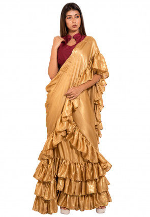 Ruffled Shimmer Georgette Lehenga in Golden