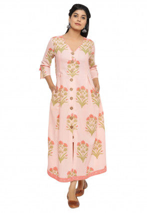 Sanganeri Printed Cotton A Line Kurta in Light Pink