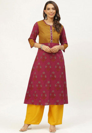 Sanganeri Printed Cotton Kurta in Maroon