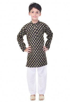 Sanganeri Printed Cotton Kurta Pajama in Black