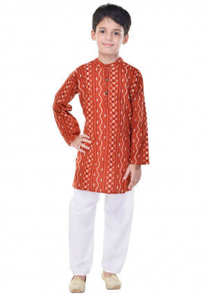 Sanganeri Printed Cotton Kurta Pajama in Rust