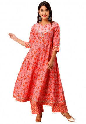 Sanganeri Printed Cotton Kurta with Palazzo in Peach and Orange