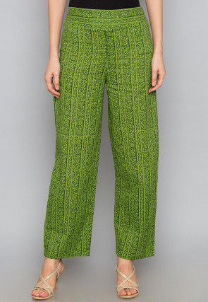 Sanganeri Printed Cotton Pant in Green