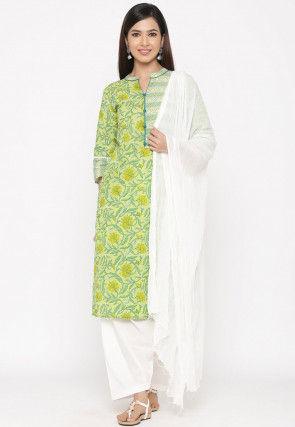 Sanganeri Printed Cotton Punjabi Suit in Light Green
