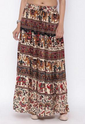 Sanganeri Printed Cotton Skirt in Beige