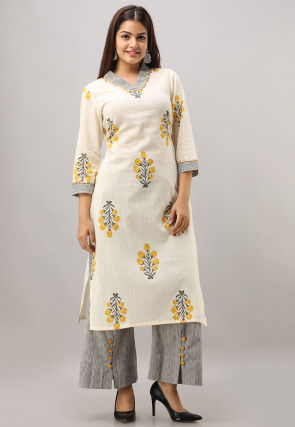 Sanganeri Printed Cotton Slub Kurta with Pant in Off White
