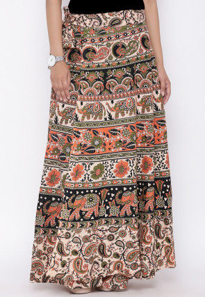 Sanganeri Printed Cotton Wrap Around Skirt in Beige