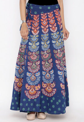 Sanganeri Printed Cotton Wrap Around Skirt in Blue