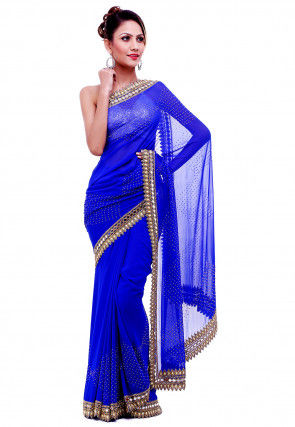 Hand Embroidered Georgette Saree in Royal Blue
