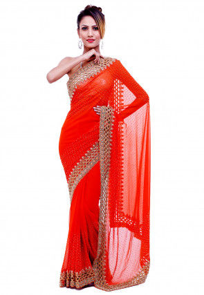 Hand Embroidered Georgette Saree in Orange