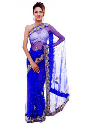 Hand Embroidered Net Saree in Royal Blue