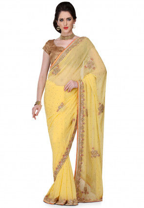 Hand Embroidered Viscose Georgette Saree in Light Yellow