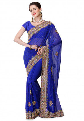 Hand Embroidered Viscose Georgette Saree in Royal Blue