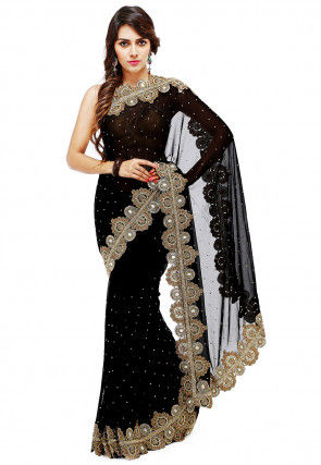 d9908653233 Hand Embroidered Georgette Saree in Black