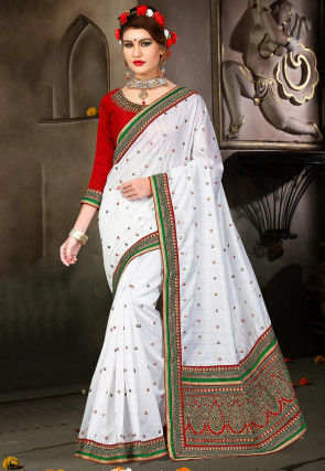 Embroidered Bhagalpuri Silk Saree in White