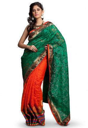 Half N Half Net Jacquard Saree in Green and Orange