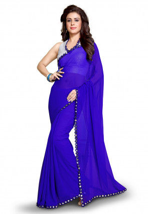 Plain Georgette Saree in Blue