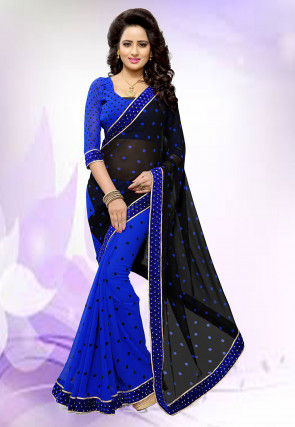 Half N Half Georgette Saree in Black and Blue