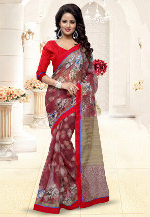 Printed Super Net Saree in Maroon and Beige