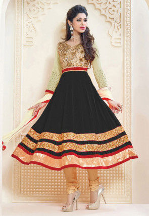 Embroidered Georgette Anarkali Suit in Black and Beige