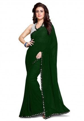 Lace Border Georgette Saree in Dark Green