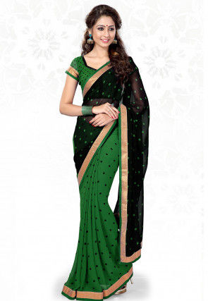 Half N Half Georgette Saree in Black and Green