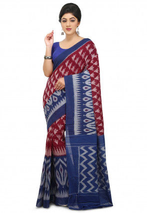 Pochampally Ikkat Handloom Cotton Saree in Maroon