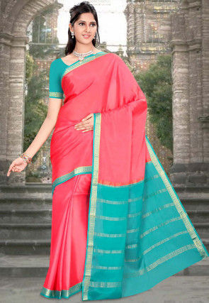 Pure Mysore Silk Saree in Coral