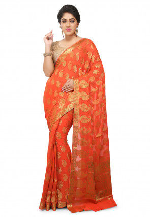 Woven Mysore Chiffon Saree in Orange