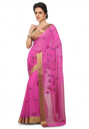Embroidered Mysore Chiffon Saree in Pink