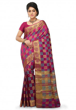 Woven Bangalore Silk Saree in Magenta