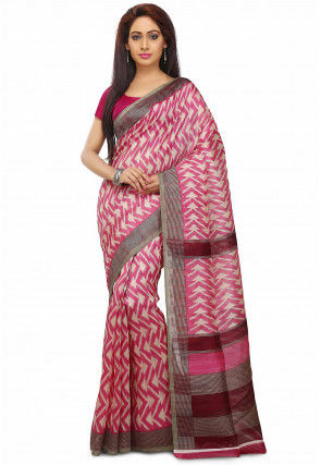 Printed South Art Silk Saree in Pink