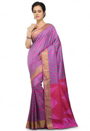 Printed Bangalore Silk Saree in Pink