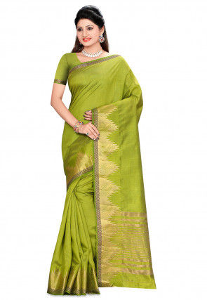 Woven Bangalore Silk Saree in Olive Green