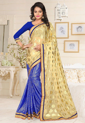 Half N Half Foil Printed Lycra Saree in Beige and Blue