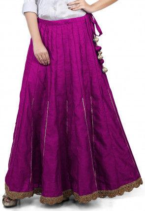 Scallop Border Bhagalpuri Silk Long Skirt in Magenta