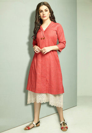 Schiffley Cotton Midi Dress in Red