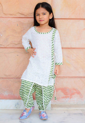 Schiffli Cotton Kurta Set in White