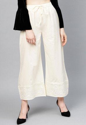 Schiffli Cotton Wide Legged Palazzo in Off White
