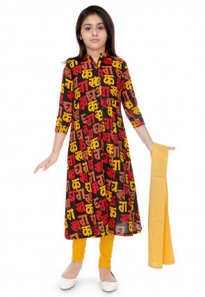 Script Printed Cotton A Line Suit in Black and Multicolor