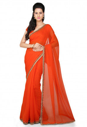 Embroidered Border Georgette Saree in Orange