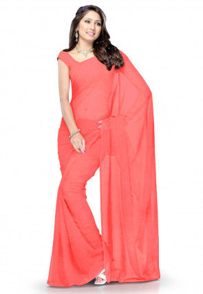 Plain Georgette Saree in Old Rose