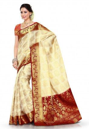Kanchipuram Art Silk Saree in Cream