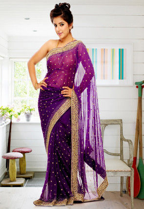 Embroidered Chiffon Saree in Purple