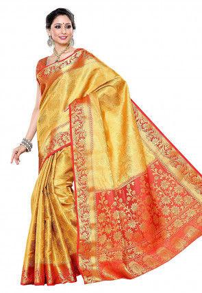 Woven Kanchipuram Silk Saree in Yellow